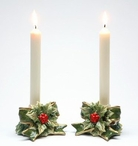 Holly Porcelain Taper Candle Holders, Set of 2