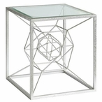 Hollywood Dabbed Silver Leaf Wood Accent Table