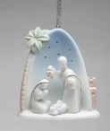 Holy Family with Palm Tree Christmas Tree Ornaments, Set of 4