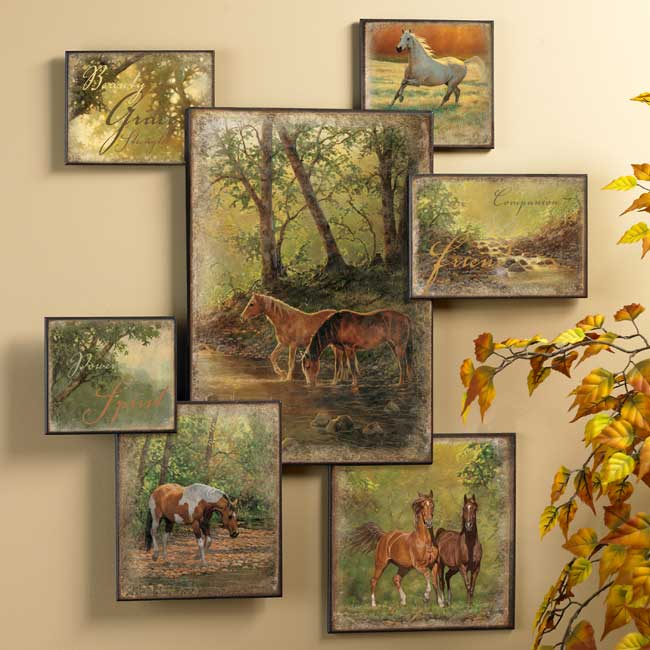 Horse wall collage wall art western wall decor wild wings for Collage wall art ideas