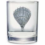 Hot Air Balloon Pewter Accent Double Old Fashion Glasses, Set of 2