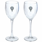 Hot Air Balloon Pewter Accent Wine Glass Goblets, Set of 2