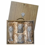 Hot Air Balloon Pilsner Glasses & Beer Mugs Box Set w/ Pewter Accents