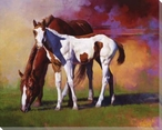 Hot Color Horse and Her Foal Wrapped Canvas Giclee Print Wall Art