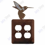 Hummingbird Double Metal Outlet Cover