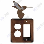 Hummingbird Double Metal Outlet Cover with Single Rocker