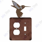 Hummingbird Double Metal Outlet Cover with Single Toggle