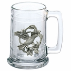 Hummingbird Glass Beer Mug with Pewter Accent