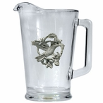 Hummingbird Glass Pitcher with Pewter Accent