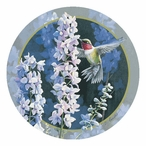 Hummingbird in Delphiniums Round Coasters by Susan Bourdet, Set of 12