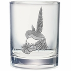 Hummingbird Pewter Accent Double Old Fashion Glasses, Set of 2
