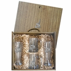 Hummingbird Pilsner Glasses & Beer Mugs Box Set with Pewter Accents