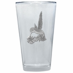 Hummingbird Pint Beer Glasses with Pewter Accent, Set of 2