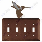 Hummingbird Quad Toggle Metal Switch Plate Cover