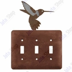 Hummingbird Triple Toggle Metal Switch Plate Cover