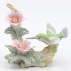 Hummingbird with Azalea Flowers Sculpture