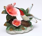 Hummingbird with Hibiscus Flower Porcelain Sculpture