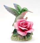 Hummingbird with Rose Flower Musical Music Box Sculpture