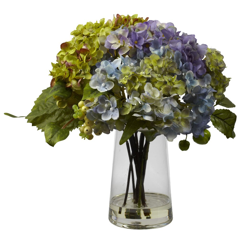 hydrangea silk flower arrangement with glass vase. Black Bedroom Furniture Sets. Home Design Ideas