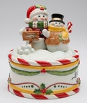 I Believe Santa with Snowman Candy Box Dish by Laurie Furnell