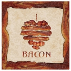 I Love Bacon Absorbent Beverage Coasters, Set of 8