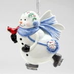 Ice Skating Snowman Christmas Tree Ornaments, Set of 4