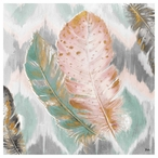 Ikat Feathers Absorbent Beverage Coasters, Set of 12