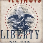 Illinois Liberty State Wrapped Canvas Giclee Print Wall Art