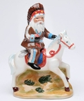 Indian Santa with Horse Porcelain Salt and Pepper Shakers, Set of 4