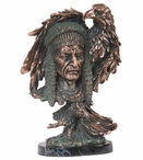 Indian with Eagle Statue - Copper Finish
