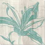 Indigo Lily Flower Wrapped Canvas Giclee Print Wall Art