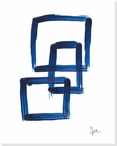 Indigo Squares V Wrapped Canvas Giclee Art Print Wall Art