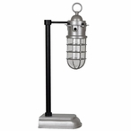 Industria Task Metal and Glass Lamp with Glass and Metal Shade