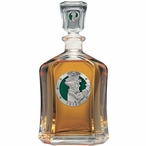 Irish Fighter Green Capitol Glass Decanter with Pewter Accents