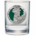 Irish Fighter Green Pewter Accent Double Old Fashion Glasses, Set of 2