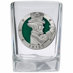 Irish Fighter Green Pewter Accent Shot Glasses, Set of 4
