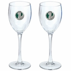 Irish Leprechaun Green Pewter Accent Wine Glass Goblets, Set of 2