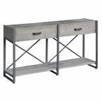 Iron Junction 2 Drawer Metal and Wood Rustic Console Table