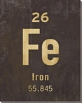 Iron - Periodic Table of Elements Wrapped Canvas Giclee Print