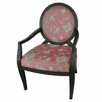 Isabella Grey Wash & Pale Rose Floral Pattern Fabric Wood Accent Chair