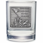 Iwo Jima Memorial Pewter Accent Double Old Fashion Glasses, Set of 2