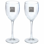 Iwo Jima Memorial Pewter Accent Wine Glass Goblets, Set of 2