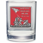 Iwo Jima Memorial Red Pewter Double Old Fashion Glasses, Set of 2