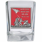 Iwo Jima Memorial Red Pewter Accent Shot Glasses, Set of 4