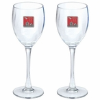 Iwo Jima Memorial Red Pewter Accent Wine Glass Goblets, Set of 2