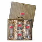 Iwo Jima Memorial Red Pilsner Glasses & Beer Mugs Box Set with Pewter