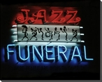 """""""Jazz Funeral"""" Neon Sign Wrapped Canvas Giclee Print Wall Art"""