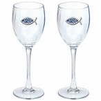Jesus Blue Pewter Accent Wine Glass Goblets, Set of 2