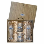 Jesus Blue Pilsner Glasses & Beer Mugs Box Set with Pewter Accents