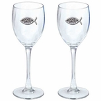 Jesus Pewter Accent Wine Glass Goblets, Set of 2